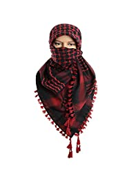 Micoop Large Size Premium Shemagh Scarf Arab Military Tactical Desert Scarf Wrap(48 by 48 inches) (Black Red)