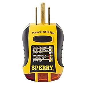 Sperry Instruments GFI6302 GFCI Outlet / Receptacle Tester, Standard 120V AC Outlets, 7 Visual Indication / Wiring…