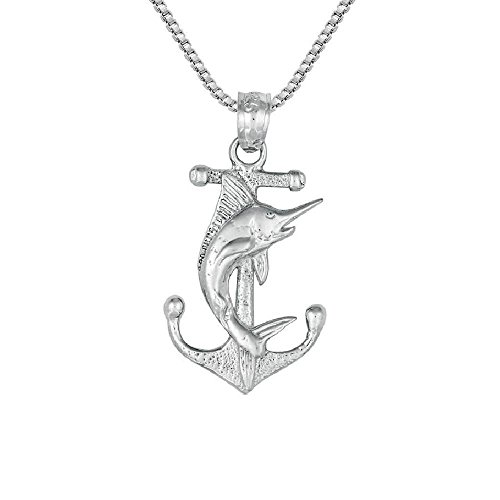 - Sterling Silver Anchor w/ Marlin Pendant, Made in USA, 18