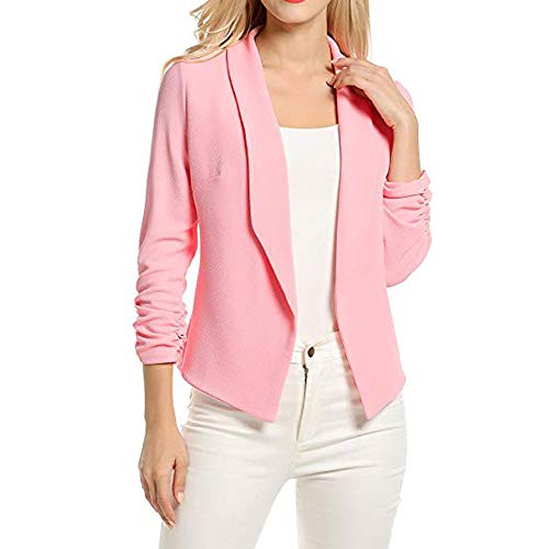 (Creazrise Women's 3/4 Ruched Sleeve Open Front Lightweight Work Office Blazer Jacket (Pink,XL))