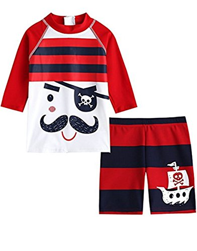 Baby Kids Boys Two Pieces Long Sleeve Cartoon Pirate Sun Protection Swimsuit Swimwear With Caps]()