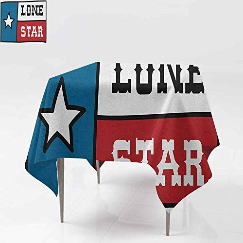 AndyTours Square Tablecloth,Texas Star,Lone Star Flag United States of America Themed Patriotic Design,for Events Party Restaurant Dining Table Cover,36x36 Inch Cobalt Blue Ruby White]()