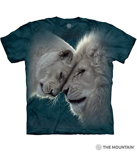 Lion Adult T-shirt - The Mountain White Lions Love Adult T-Shirt, Green, 2XL