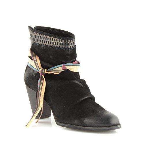 Felmini - Zapatos para Mujer - Enamorarse com Raisa 9103 - Botas con tacones - Cuero Genuino - Negro Negro