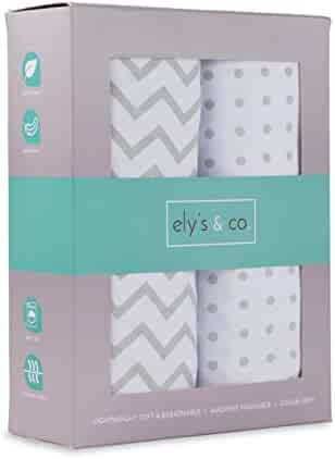 Pack N Play Portable Crib Sheet Set 100% Jersey Cotton Unisex for Baby Girl and Baby Boy by Ely's & Co. (Grey Chevron and Polka Dot)