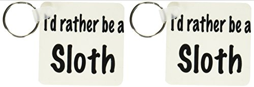 3Drose Id Rather Be A Sloth - Key Chains, 2.25 X 4.5 Inches, Set Of 2 (Kc_108316_1) -