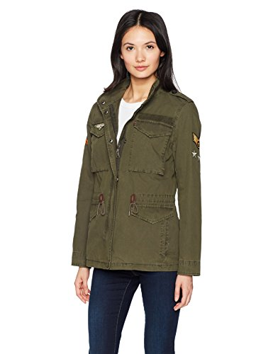Levi's Women's Four-Pocket Cotton Military Jacket with Patches, Army Green, Medium