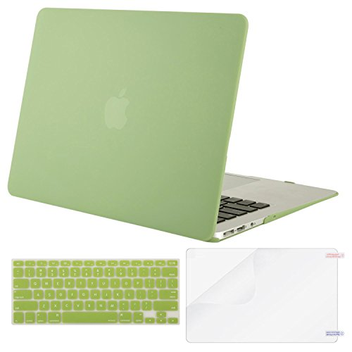 MOSISO Plastic Hard Case & Keyboard Cover & Screen Protector Only Compatible MacBook Air 13 Inch (Models: A1369 & A1466, Older Version Release 2010-2017), Chartreuse