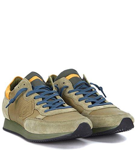 Philippe Modell Mens Tropez Olivgrön Mocka Sneaker Grönt
