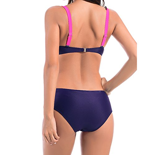 Women Push-up Bikini Swimsuit Color Block Sexy Bikini Two Pieces Suit