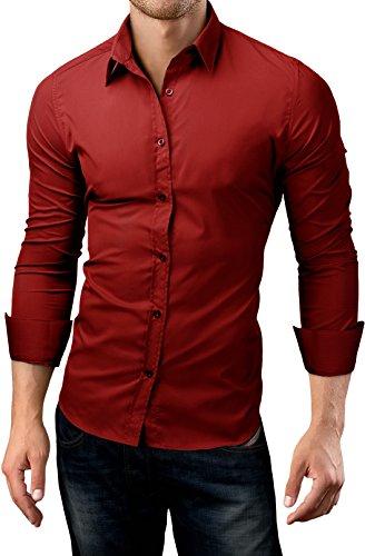 Grin&Bear Slim Fit men's wrinkle free shirt dress shirt, burgundy, M, SH500