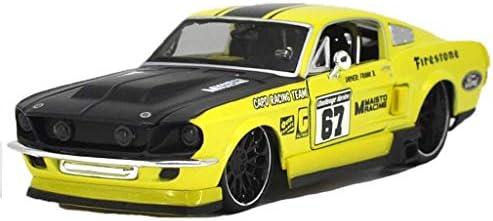 YN モデルカー 1:24フォードマスタングGTレーシング1967年シミュレーションカー合金モデルボーイチャイルドトイカーコレクションデコレーション ミニカー (Color : Yellow)