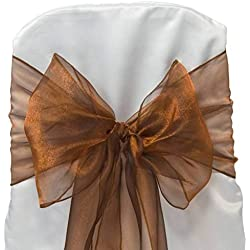 mds Pack of 100 Organza Chair sash Bow Sashes for Wedding and Events Supplies Party Decoration Chair Cover sash -Bronze