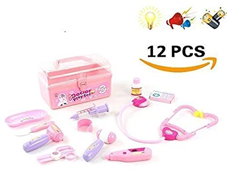 Medical Girl Doctor Kit For Doll Kids W Lights Sound 12 Pcs Nurse Kit For Doctor Costume Pretend Play Nurse