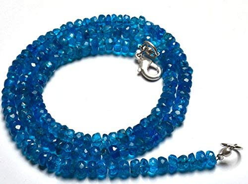 Natural 17 Inch Strand, Super Finest-Quality- Neon Blue Apatite Micro Faceted Rondelle Big Beads Necklace 4.5 to 5.5 MM by Gemswholesale