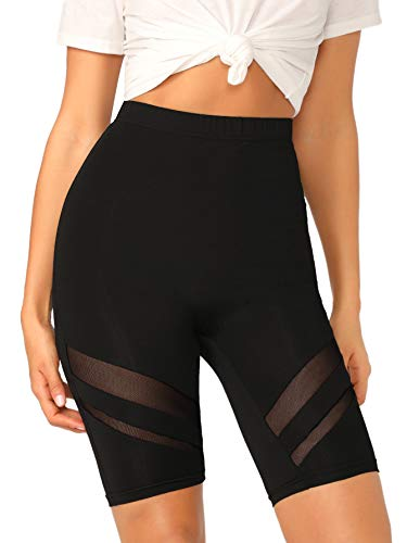 SweatyRocks Women's Short Leggings Mesh Insert Workout Running Cycling Shorts Black X-Small