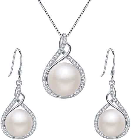 93ea5be68 EleQueen 925 Sterling Silver CZ Cream Freshwater Cultured Pearl Infinity Bridal  Necklace Hook Earrings Set Clear