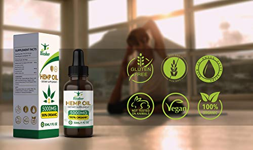41Ccsa9YJeL - Premium Hemp Oil Drops 5000 mg | Pure Organic | Natural Sleep Aid | for Pain Relief, Anxiety and Stress | Vegan Friendly | 100% Natural Ingredients Rich in Omega 3-6-9 & Vitamins | Gluten Free