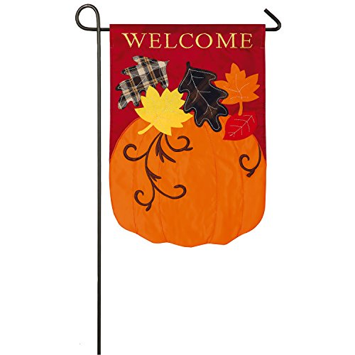 Evergreen Welcome Fall Pumpkin with Leaves Outdoor Safe Double-Sided Applique Garden Flag, 12.5 x 18 inches
