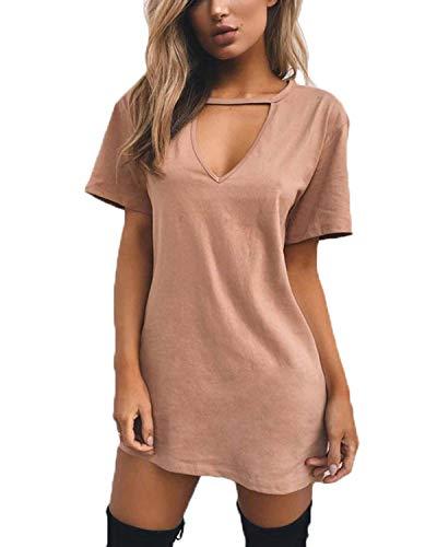 2158b98a Celmia Women Mini T Shirt Dress Summer Choker Sexy Juniors Dresses V Neck  Long Tops