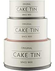 Mason Cash Innovative Kitchen Coated Steel Upside Down Stackable/Nesting Cake Tins, Set of 3, White/Grey/Pink