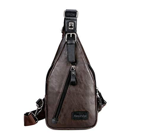 Alena Culian Sling Backpack Men Leather Chest Bag Crossbody Shoulder Bag For Men(brown)