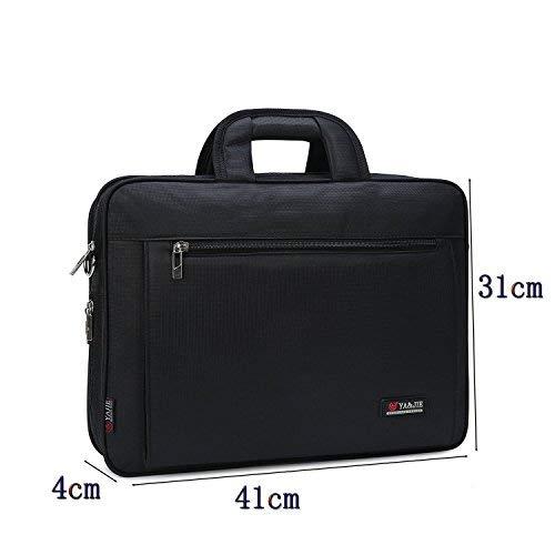 Borsa del computer portatile da 15.6 pollici Scomparti multipli Borsa da lavoro a tracolla impermeabile per tablet-Nero 1