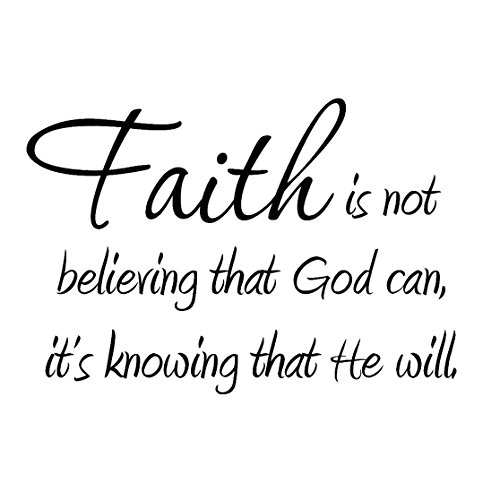 Faith Is Not Believing That God Can Its Knowing That He Will Vinyl Lettering Decal Faith Wall Art Quotes Home Wall Decor Stickers