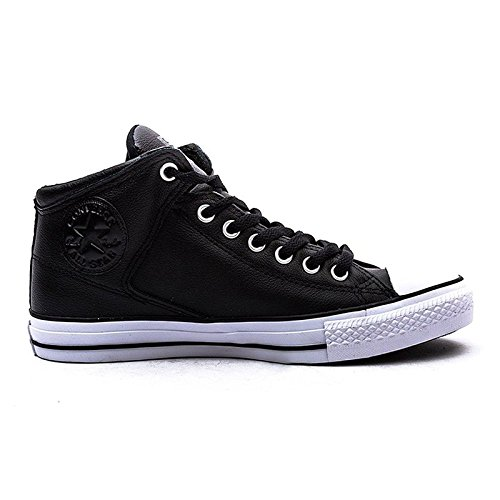 Converse Men's Street Leather High Top Sneaker Black/White, 8.5 M US