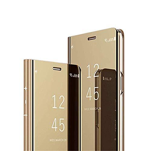 ISADENSER Samsung Galaxy S6 Edge Plus Case for Women Luxury Design View Flip Mirror Makeup Glitter Slim Shockproof Full 360 Body Protective Case for Samsung Galaxy S6 Edge Plus Mirror Gold