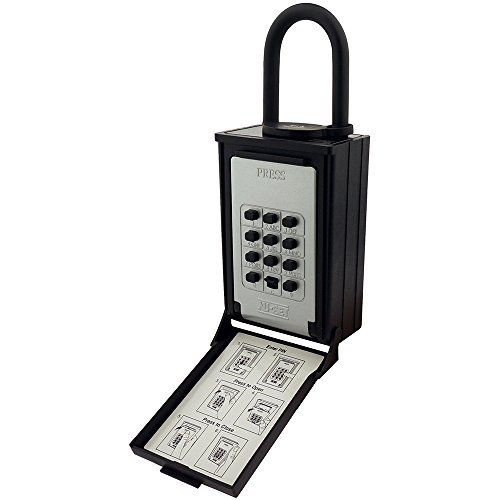 NU-SET 2084-3 Key/Card Storage Push Button Lockbox with Combination Locking Shackle, Black by NUSET
