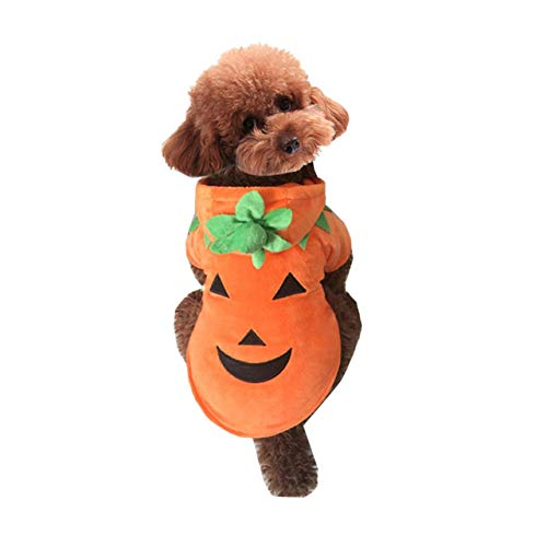 Mogoko Dog Cat Halloween Pumpkin Costumes, Funny Pet Cosplay Dress, Puppy Fleece Hoodie Coat Clothes, Animal Autumn Winter Warm Jumpsuit Outfit Apparel (XL for 12.0~18.0 lbs)