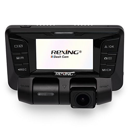 Rexing V2 Front + Back Dual Camera 1080p Full HD Wi-Fi Ultra Wide Angle LCD Screen Car, Uber, Taxi Dash Cam -