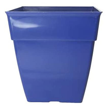 225 & 3 x Large Blue Square Metallic Plastic Plant Pots