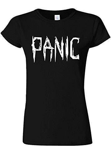 おもてなし群衆滑るPanic Relax Cool Funny Novelty Black Women T Shirt Top-M