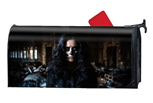 Artistic Sugar Skull Dark Woman Model Brunette Blue Eyes Magnetic Mailbox Cover - Garden Accessories ()