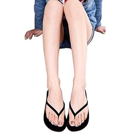 Fullkang Women Cool Summer Shoes Sandals Slipper indoor & outdoor Flip Flops (5.5, Black)