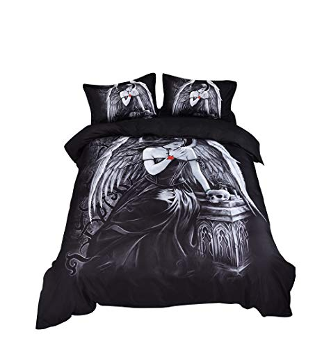 Ice Crib Bedding (❤Ywoow❤❤ , Three-Piece Fashion 3D Digital Printing Bedding Set Digital Printing Lining Double-Layer Duvet Suit)