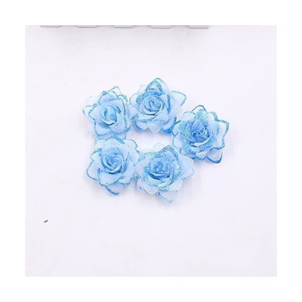 YYU DIY Artificial Flower Roses Wedding Decoration Party Decoration Festive Decoration Home Decoration Spray Powder Flower Heads 30PCS 5CM (Blue)