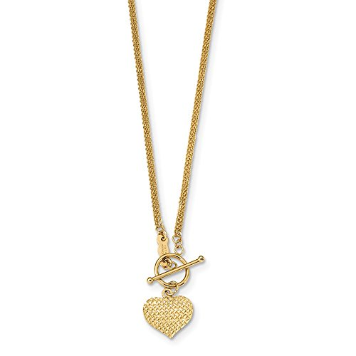 Strand Heart Toggle - 14k Yellow Gold 3 Strand Heart Toggle Clasp Cable Chain Necklace, 18