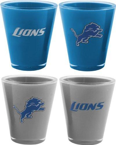 NFL Detroit Lions 4-Pack Acrylic Team Color Acrylic Shot Set (Lions Shot Glass Set)