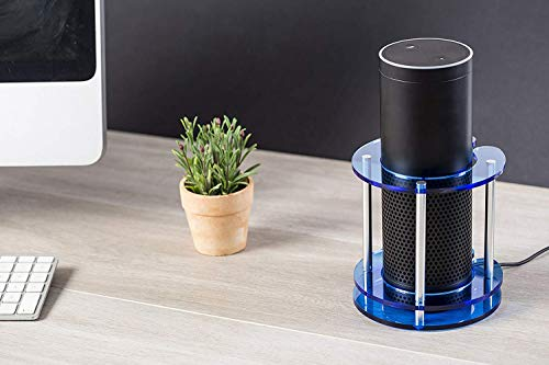 Speaker Stand for Amazon Echo, Echo Plus, UE Boom and Other Models - Protect and Stabilize Alexa by Wasserstein (Blue)