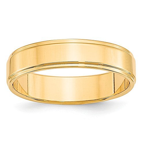 Solid 14k Yellow Gold 5mm Flat with Step Edge Wedding Band Size 7