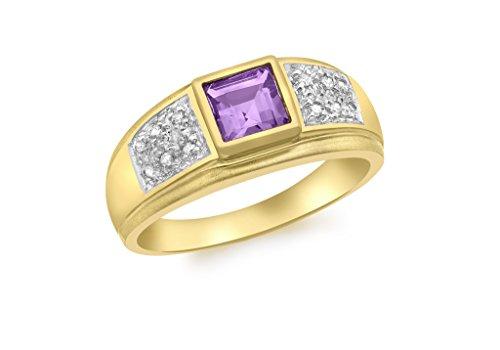 Bague Or jaune 9carats et diamant Améthyste
