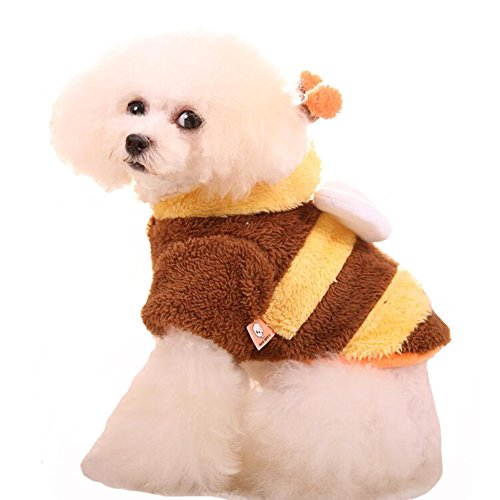 WORDERFUL Pet Winter Coat Bee Costume Dog Warm Fleece Outfit Cat Cold Weather Warm Coat Clothes for Small and Medium Dog (XS)