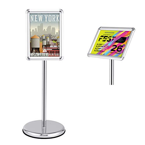 (Goplus Adjustable Pedestal Poster Stand Aluminum Snap-in Frame Sign Holder with Telescoping Post, Both Vertical and Horizontal View Sign Displayed (Silver, 9.5