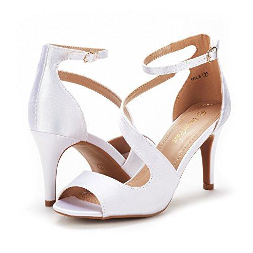 Satin PAIRS Women's Heeled Toe NILE Sandals Stilettos DREAM White Open Fashion Pump OwxZqgnP1d