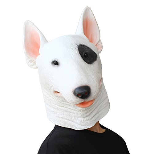 PartyCostume - Bull Terrier Mask - Halloween Costume Latex Animal Dog Mask
