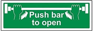 Push Bar To Open  300mm X 100mm Rigid Plastic