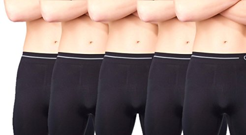 Chaffree Men's Boxer Shorts Anti Chafing 5 Pieces Pack Briefs Shorts Xl/2Xl Leg Long/Leg Large Jet Black by Chaffree